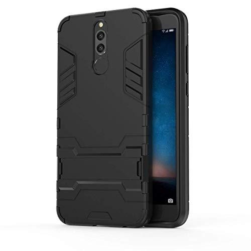 Huawei Mate 10 Lite Funda, MHHQ 2in1 Armadura Combinación A Prueba de Choques Heavy Duty Escudo Cáscara Dura PC +TPU Case Cover con soporte para HUAWEI Mate 10 Lite/HUAWEI Maimang 6 -All Black
