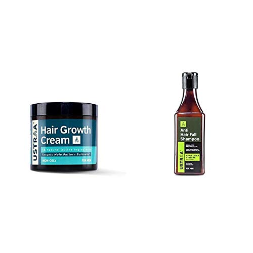 Ustraa Hair Growth Cream, 100 g & Ustraa Anti Hair Fall with Apple Cider Vinegar No Parabens and Sulphate Shampoo, 200ml