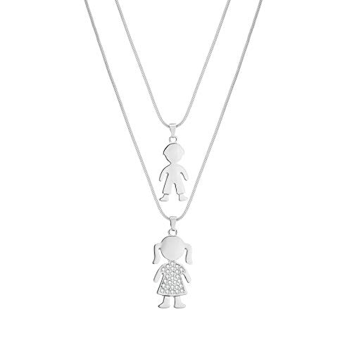 PJ Colgante de Plata para niño y niña, para Mujer, Collar de Gargantilla de Cadena hipoalergénica Brillante Diamante Regalo de Mejor Amigo
