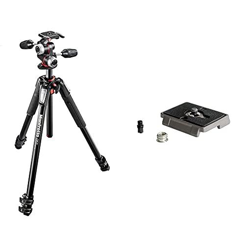 Manfrotto 055 professionelles Fotostativ mit 3 Auszügen (3-Wege Neiger und horizontaler Mittelsäule, Spiegellos bis 8 kg, MK055XPRO3-3W) & 200PL Schnellwechselplatte
