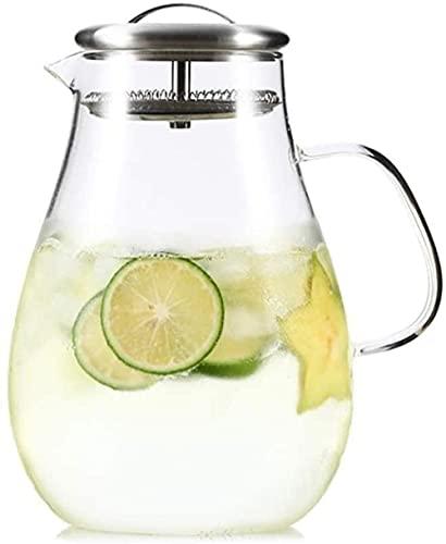 Tetera de vidrio con tapa, 2 litros, reutilizable, ideal para té helado, café, botellas de leche y zumo de frutas (tamaño: B) (tamaño: A)