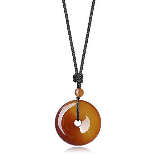 COAI Collar Ajustable con Colgante Buñuelo/Ping'An Kou de Ágata Naranja