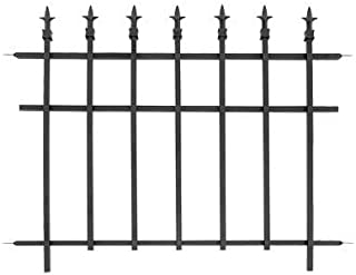 BestNest Bulk Buy of 10 Panacea 87103 Classic Finial Fence Sections, Black