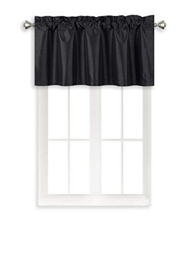 Home Queen Rod Pocket Room Darkening Curtain Valance Window Treatment for Kitchen Room, Short Straight Drape Valance, Set of 1, 37 W X 18 L Inch, Black