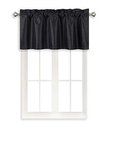 Home Queen Rod Pocket Room Darkening Curtain Valance Window Treatment for Kitchen Room, Short Straight Drape Valance, Set of 1, 37 X 18 Inch, Aqua