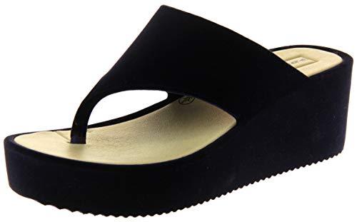 Dunlop Mujer Sandalia Cuña Plataforma Plataforma Terciopelo Azul Marino EU 38