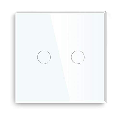 BSEED Interruptor de luz de pared normal de 800 W, cristal táctil, 110 - 250 V, placa de cristal endurecido con retroiluminación LED, 2 compartimentos, 1 vía, color blanco