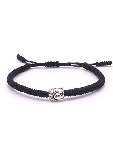 BENAVA Buddha Armband Glücksarmband Freundschaftsarmband Minimalistisch Schwarz Silber