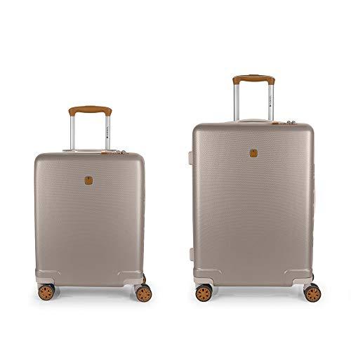 Gabol – mozaïek | kofferset van harde schalen in champagnekleuren met trolleys en middelgrote trolley