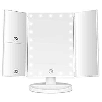 Makeup Mirror with Lights 21 Led Light Up Mirror with 2X/3X Magnification Vanity Mirror with Lights Touch Screen 180 Degree Rotation Dual Power Supply