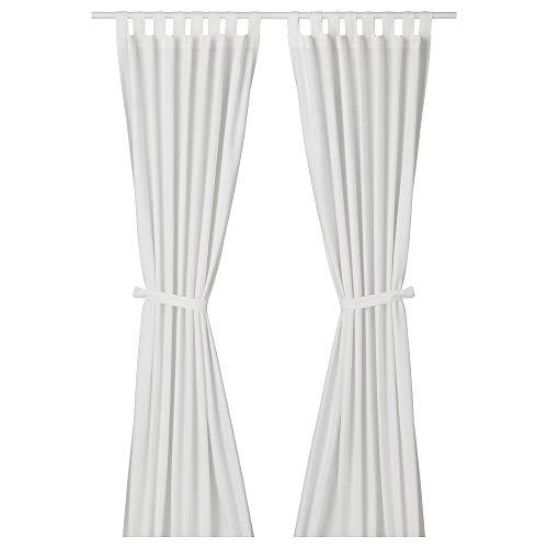 IKEA LENDA - Cortinas con lazos (1 par), color blanco