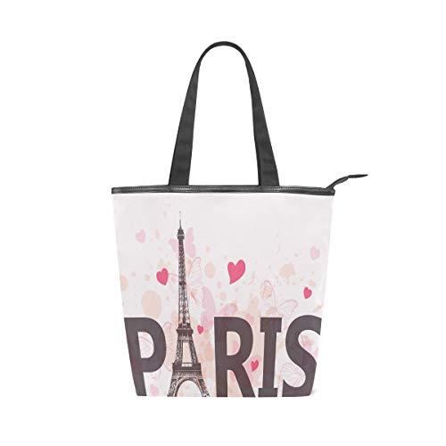 XiangHeFu Damen Handtaschen Love Eiffelturm Paris Tote Canvas Schultertasche
