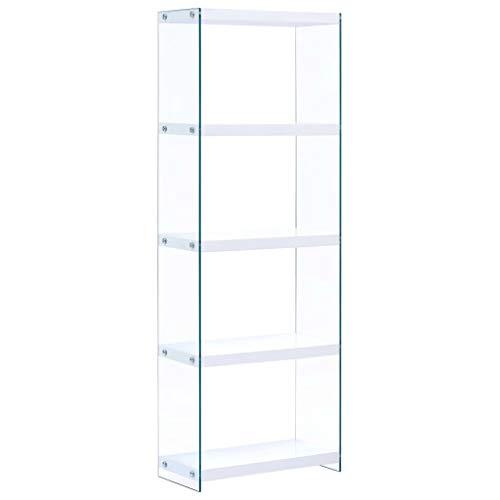 Tidyard Libreria a 5 Ripiani Moderno Design Bianco 60x29x167 cm in MDF e Vetro temperato