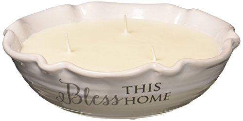 Pavilion Gift Company Love Lives Here - Bless This Home 3 Wick Ceramic Tranquility Scented Candle