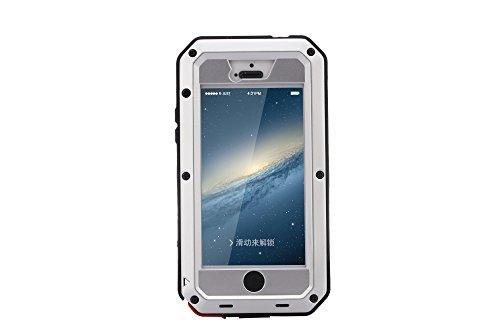 Funda antigolpes, hecha de Gorilla Glass, resistente al agua, la nieve, el polvo, para iPhone 5, 5S y 5SE, de 4 pulgadas plateado plata