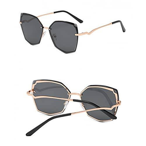 SXRAI Gafas de Sol graduadas Yooske para Mujer, Gafas de Sol sin Montura de Marca de Lujo, Gafas de Sol sin Montura con Montura de Metal con Lentes Recortadas, Gafas Irregulares 2021,C1