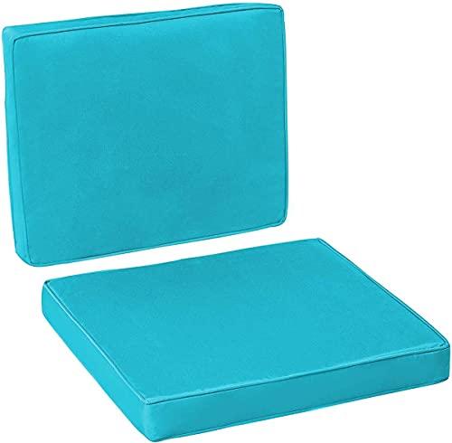 2 pezzi cuscino per divano sedia in rattan, 1 cuscino per sedile 1 schienale panca da giardino cuscino dondolo, per uso interno ed esterno, blu