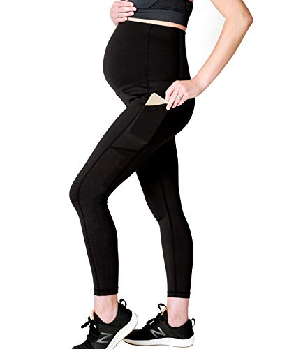 Movemama High Waisted Leggings for Women, Maternity Leggings, Postpartum Support (Solid Black (No Laser Cutting), Medium)
