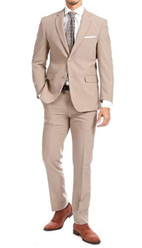 Men's Purple Slim Fit 2 Piece Notch Lapel Suit Set with Blazer Jacket & Dress Pants - (42R)