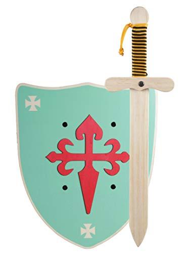 GERILEO Spada con Scudo da Cavaliere di Legno Artigianale - Complemento per Giochi e Costumi. Disponibile in Diversi Colori. (Scudo Verde XL)