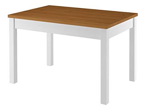 Erst-Holz® Zweifarbiger Tisch 80x120 Esstisch Tischplatte Eichefarben weiße Beine Massivholz 90.70-51 AE