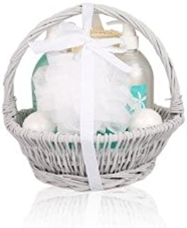 Ocean Breeze Wooden Gift Set Basket – 6pc Fresh Scented Bath & Body Kits for Women, Enhanced with Ylang-Ylang Essential Oil – Shower Gel, Bubbly Soak, Soap, Fizzer Bombs, Puff, Sponge
