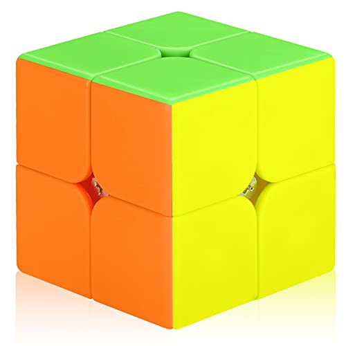 Lunaoo Speed Magic Cube, Stickerless 2x2 Speed Puzzle Cube, Smooth Turning 3D Puzzle Cube 2x2, Educational Toy Cube with Brain Teaser for Kids & Adults