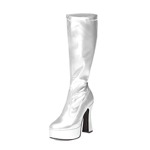 Damen Herren Kniehohe Plateau-Stiefel Disco GoGo, Silber - silber - Größe: 39 EU