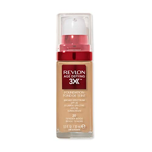 Revlon Age Defying 3X Makeup Foundation, Firming, Lifting and Anti-Aging Medium, Buildable Coverage with Natural Finish SPF 20, 020 Tender Beige, 1 fl oz