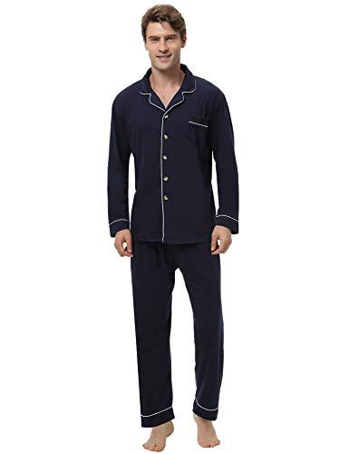Aibrou Herren Baumwolle Pyjama Set, Einfarbiger Zweiteiliger Schlafanzug Langarm Shirt und Pyjamahose Marineblau L
