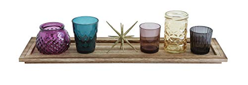 Creative Co-Op Set of 5 Votives on Wood with Gold Star