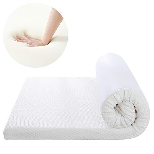 RUIKASI Memory Foam Mattress Topper King Size Bed - Pressure Relief Foam Mattress Topper 150x200x5 cm with Zipped Cover, Removable & Washable