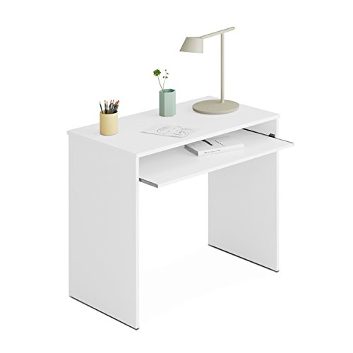 Habitdesign 002314BO - Table d'ordinateur, blanc brillant, 90 x 54 x 79 cm