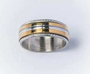 Men's Stainless Steel Gold Plated Spinner Ring US Size 12