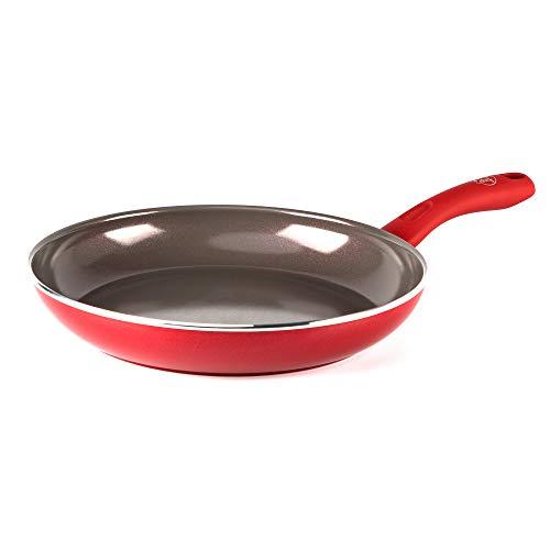 GreenChef Pfanne Bratpfanne Induktion Keramik Beschichtet, Toxinfreies Kochen, Ofen- und Spülmaschinengeeignet - 30 cm, Rot