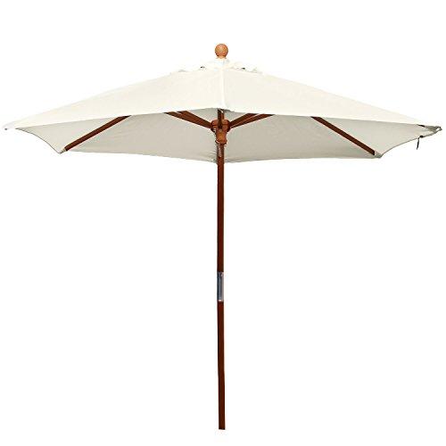 anndora® Sonnenschirm Marktschirm Balkonschirm ø 2,1 m rund - mit Winddach Natural