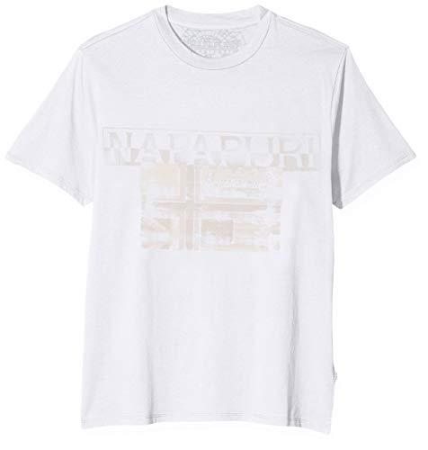 Napapijri Herren SAWY T-Shirt, Weiß (Bright White 002), Large (Herstellergröße: L)