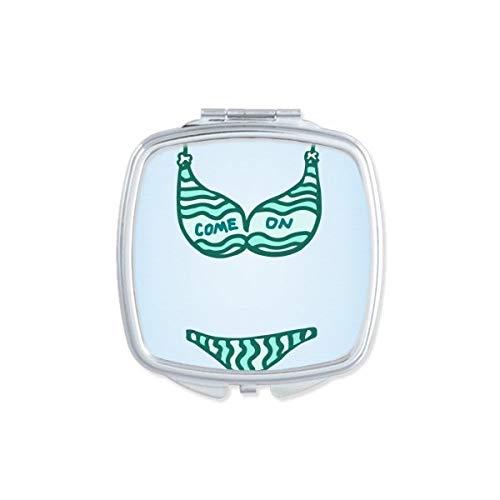 DIYthinker Maillot de Bain Sexy Vert Set Illustration Miroir carré Maquillage Compact Portable Mignon Miroirs de Poche à la Main Cadeau