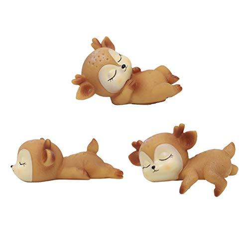 H HILABEE 3pcs Deer Figurines Toys Kawaii Sleeping Animal Baby Decor Silicone Ornaments