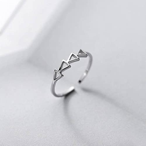 Good dress Anillo de plata S925, anillo hueco simple del triángulo de la manera de las señoras anillo de plata s925, apertura ajustable