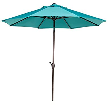 Abba Patio 9 Feet Patio Umbrella Market Outdoor Table Umbrella with Auto Tilt and Crank, Turquoise
