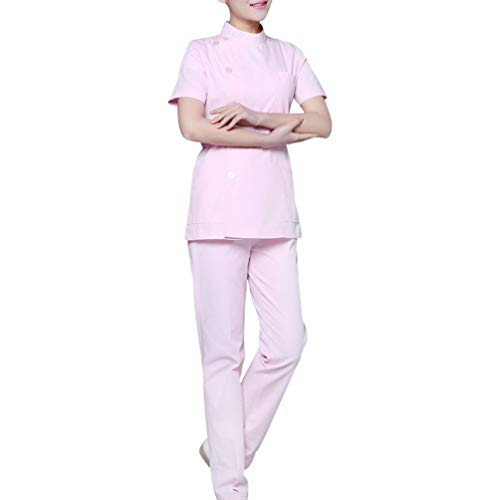 PRETYZOOM Pflegeuniform Peeling Kleid Unendlichkeit Rundhalsauszug Zweiteilige Krankenhauskleidung Kurzarm Arbeit Arbeitskleidung für Kosmetikerin Frau (2XL Rosa)