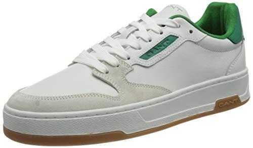 GANT Saint-Bro Sneaker, Basket Homme, White Green, 42 EU