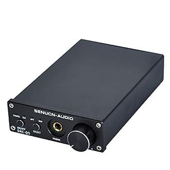 SUCA-AUDIO DAC Headphone Amplifier Converter Amplifier Mini Hi-Fi 24bit/192KHz/Optical/Coaxial/USB inputs & RCA AUX Output forDigital to Analog Converter - with DC 12V Power Plug - Black