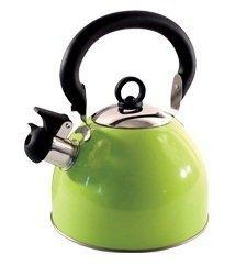 Guilty Gadgets - Bollitore a fischietto, 2,5 l, in acciaio INOX, con beccuccio tradizionale/retrò, per piano cottura o piano cottura, colore: Verde