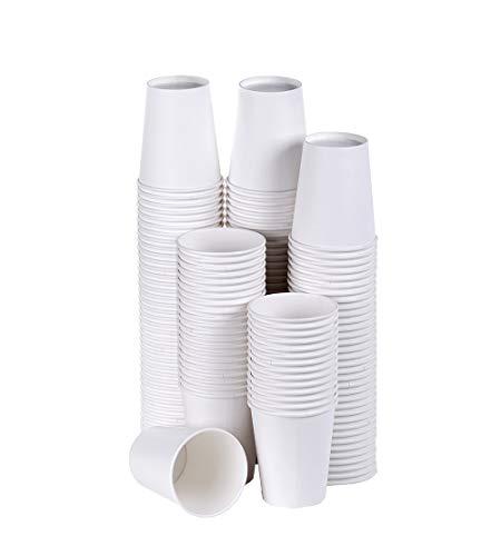 TashiBox Coffee Disposable Hot Paper Cups, 150 Count - 8 OZ, White