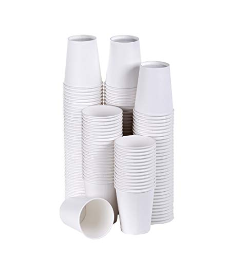 TashiBox Coffee Disposable Hot Paper Cups 150 Count  8 OZ White