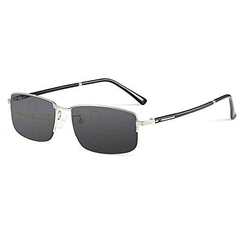 CXNEYE Gafas Fotocromáticas Progresivas Multifocales Miopía E Hipermetropía Gafas De Lectura De Doble Propósito Gafas De Sol con Montura Metálica Hombres Mujeres UV400