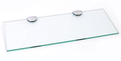 Estante largo de cristal con soporte cromado para baño, dormitorio, cocina, oficina (400 mm x 150 mm)