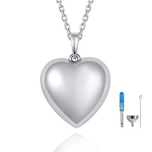 NWZW Collar con Colgante de urna con Forma de corazón para Cenizas conmemorativas con Plata de Ley 925, joyería de Cenizas de Recuerdo, para Siempre en mi corazón